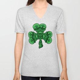 Cloverleaf Skull - St. Patrick's Day Luck Unisex V-Neck