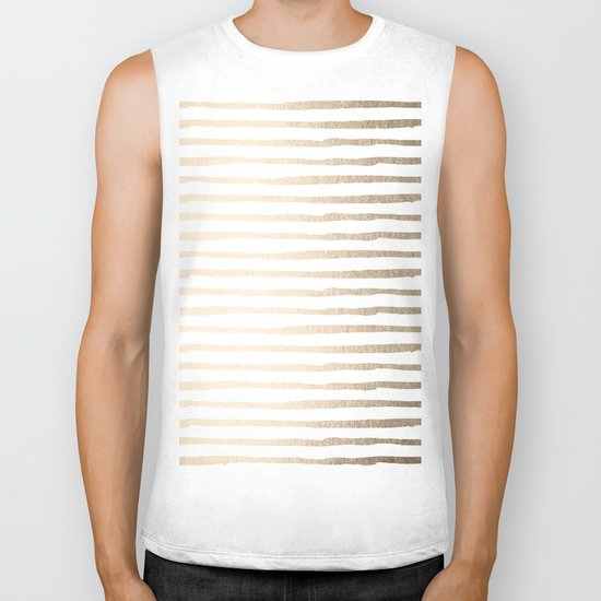 White Gold Sands Thin Stripes Biker Tank