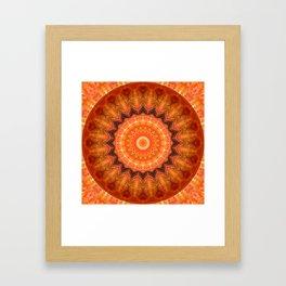 Mandala orange brown Framed Art Print