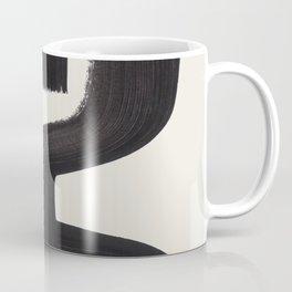 Mid Century Modern Minimalist Abstract Art Brush Strokes Black & White Ink Art Alien Symbol Pattern Coffee Mug