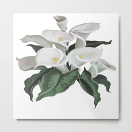 Painted Cream Calla Lilies Vector Metal Print