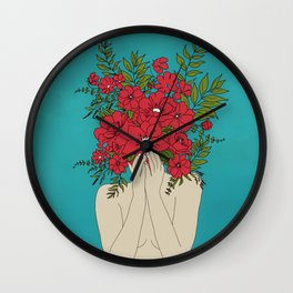 Blooming Red Wall Clock