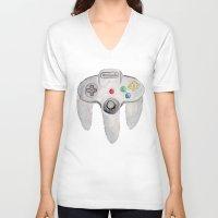 nintendo V-neck T-shirts featuring Nintendo 64 by Zoë Hayman