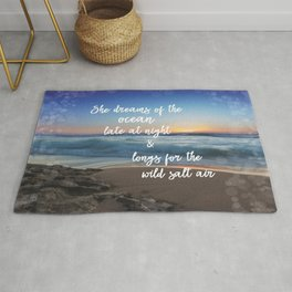 She Dreams of the Ocean Quote Rug
