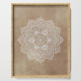 Mandala Brown Beige Creamy Pattern Serving Tray