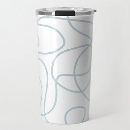 Silvery Blue Doodled Lines Pattern on White Travel Mug