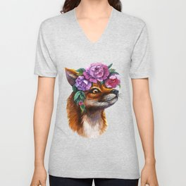 Red Fox and Peonies Unisex V-Neck