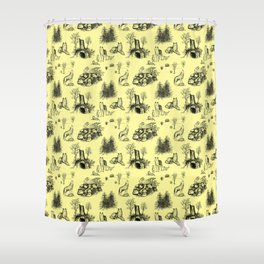 Eurasian Wolf Toile Pattern (Yellow and Black) Shower Curtain