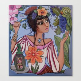 Vineyard Muse or Monica watches the little yellow butterfly while hiding a hair pin for just in case Canvas Print