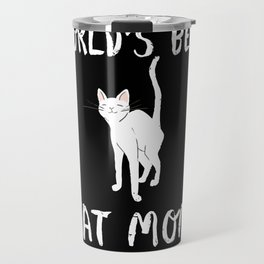 World's Best Cat Mom Cute Animal Typography Art Travel Mug