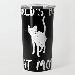 World's Best Cat Mom Cute Animal Typography Art Travel Mug