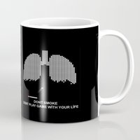 tetris Mugs featuring Smoke Tetris by ArtSchool