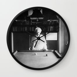 1891 Mark Twain playing billiards, pool black and white vintage photograph / photography Wall Clock