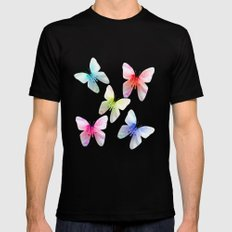 Butterfly pink azalea in pastel color stripes background. Floral botanical graphic art. Mens Fitted Tee Black MEDIUM