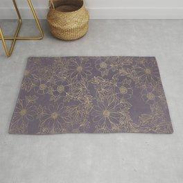 Modern elegant dark lavender watercolor gold floral Rug