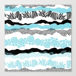 Modern geometric black aqua white brushstrokes Canvas Print