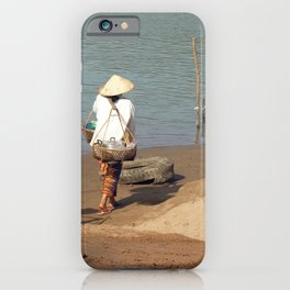 Lao Women going to the Market on the Mekong River iPhone Case