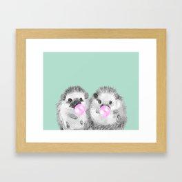 Playful Twins Hedgehog Framed Art Print