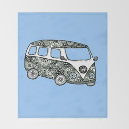 Blue bus Throw Blanket