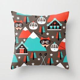 Winter Wonderland retro ski fox Throw Pillow