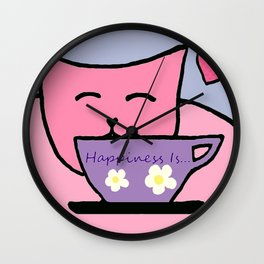 Happiness Is Cats and Tea Wall Clock