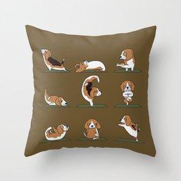 Beagle Yoga Throw Pillow