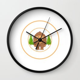 Outdoor Mountain Hiking Bigfoot Sasquatch Official Bigfoot Research Team Apparels T-shirt Design Wall Clock