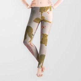 Pink Palm Tropical Cheetah Pattern Leggings
