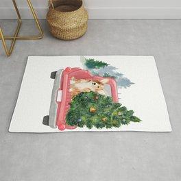 Driving Home For Christmas - Corgi On Red Xmas Car  Rug