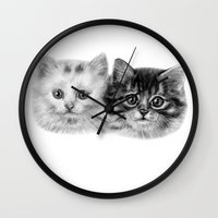 kittens Wall Clocks featuring Kittens by Danguole Serstinskaja