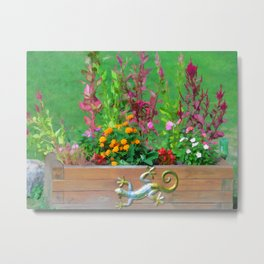 Flowers in a wooden flower bed Metal Print
