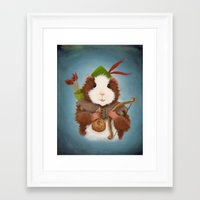guinea pig Framed Art Prints featuring Guinea Pig Robin Hood by When Guinea Pigs Fly