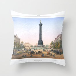 Paris art print Paris Decor office decoration vintage decor PLACE BASTILLE of Paris Throw Pillow