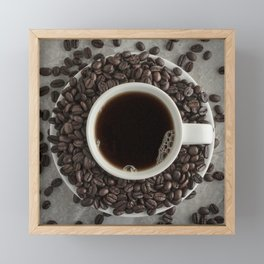 Coffee Cup and Beans Framed Mini Art Print