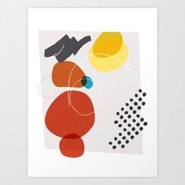 Shape & Hue Series No. 2 – Yellow, Orange & Blue Modern Abstract Art Print