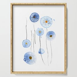 blue abstract dandelion 2 Serving Tray