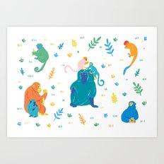 Monkey pattern Art Print