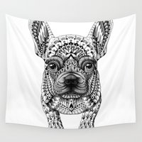frenchie Wall Tapestries featuring Frenchie by BIOWORKZ