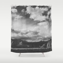 Red Rock Canyon, Las Vegas, Nevada. Mountain Black and White Photograph Shower Curtain