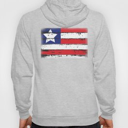 Wood Grain American Flag 4th of July with Fade Print Hoody