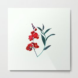 Coral red orchid navy ocean blue foliage simple watercolor design Metal Print