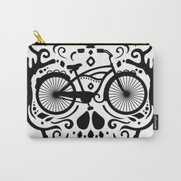 Vintage Mexican Skull with Bicycle - black and white Carry-All Pouch