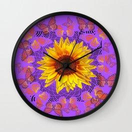 Monarch Butterflies Love Sunflowers Purple Pattern Abstract Wall Clock