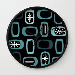 Midcentury MCM Rounded Rectangles Black Turquoise Wall Clock
