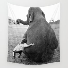 Odd Best Friends, Sweet Little Girl hugging elephant black and white photograph Wall Tapestry
