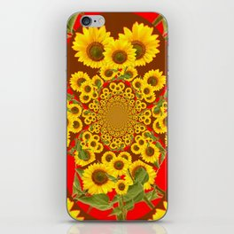BROWN-RED SUNFLOWERS ABSTRACT iPhone Skin