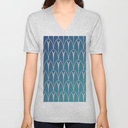 Retro Pattern - Blue Shades Unisex V-Neck