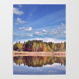 autumn landscape with colorful trees near lake with reflection Poster