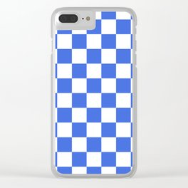 Checkered - White and Royal Blue Clear iPhone Case
