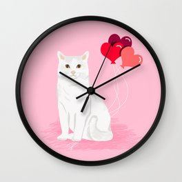Cat breed white cats valentines day heart balloons kitty cat gifts Wall Clock
